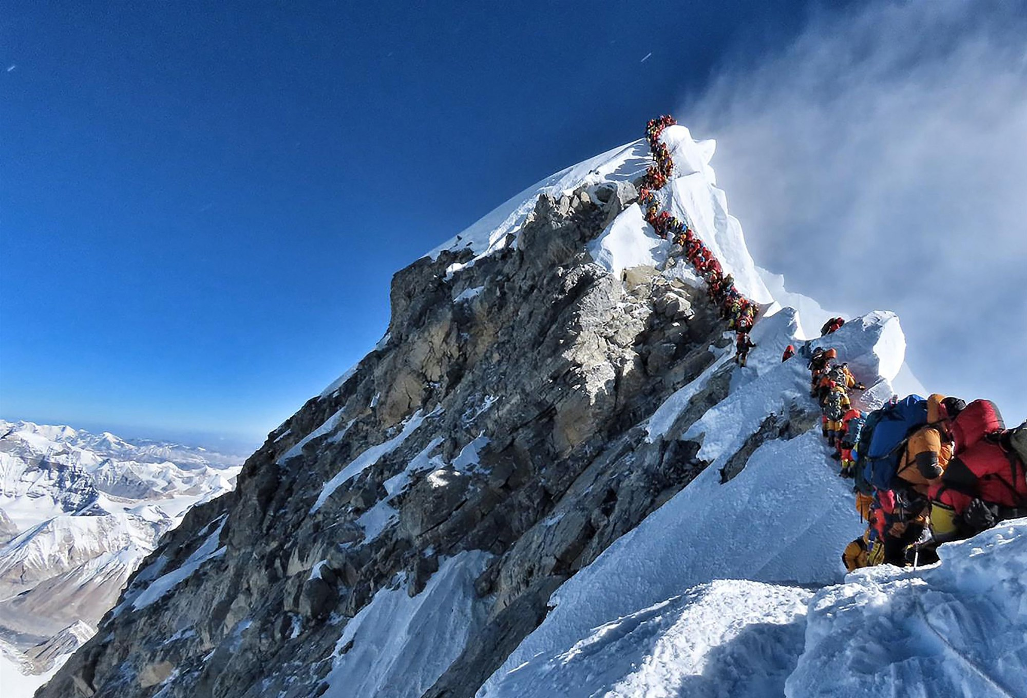 The crowded approach to the peak of Mount Everest