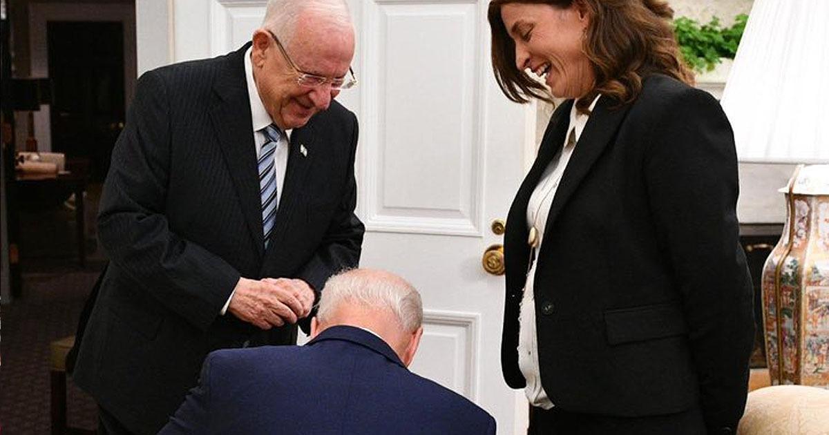 Joe Biden kneeling for Israel